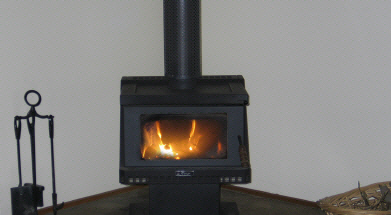 The Cottage at Hillcrest wood fireplace for cozy winter nights