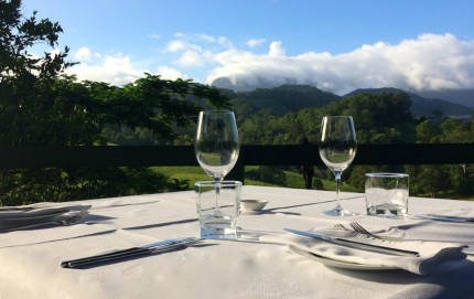 Gazebo private dining with views across the Tweed hinterland at Hillcrest Mountain View Retreat, Crystal Creek, via Murwillumbah, New South Wales