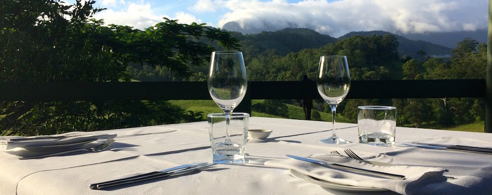 View of Springbrook Ranges from the gazebo dining area at Hillcrest Mountain View Retreat near Murwillumbah New South Wales